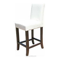 "ARTeFAC - Leather Counter Stool 26"" Seat Height, White - White Leather Counter Stool 26"" Seat Height"