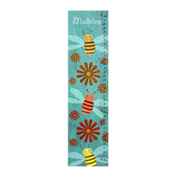 Green Leaf Art - Happy Bees Personalized Canvas Growth Chart - 10W x 39H in. Multicolor - YS17091 - Shop for Growth Charts from Hayneedle.com! The flying Happy Bees Personalized Canvas Growth Chart - 10W x 39H in. are abuzz with how big your honey is getting. It's true that they grow up too fast and a keepsake of their growth is the perfect way to look back on the years. Kids love to see how much they've grown and parents love to reminisce. This sweet chart is a darling memento you'll cherish as a family.