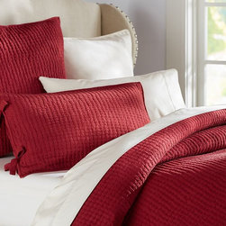 Pick-Stitch Quilt, Cardinal Red - I love this red pick-stitch quilt. It will add wonderful richness to any bedroom.
