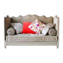 """Sevigne Day Bed with Large Copper Plated Nail Heads - Sevigne day bed with large copper plated nail heads, Made in France by Moissonnier; 78 1/4"""" x 38 1/4"""" x 44 3/4"""" h. Mattress and pillows not included. Fits a 75"""" x 35 1/2"""" mattress. Shown in grey finish."""