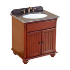 Bosconi - 30 in. Classic Single Vanity - Includes sink overflow drain. Faucet and drain not included. Vanity with single cabinets double doors. Perfect blend of beauty and function. 0.7 in. thick dark emperador marble countertop. White and under-mount ceramic basin sink. Three 8 in. standard faucet holes. Antique brass hardware. Made from solid wood frame, CARB PH2 certified MDF sides and panelling. Antique red finish. Matching backsplash: 0.7 in. W x 3.1 in. H. Sink: 22 in. W x 16 in. D x 7.9 in. H. Overall: 30 in. W x 23 in. D x 33 in. H (116 lbs.)Bosconi Classic single Vanity showcases great craftsmanship from the legs. This models finish complements the top and every feature of the vanity. Bosconi vanity is the great addition to any bathroom.