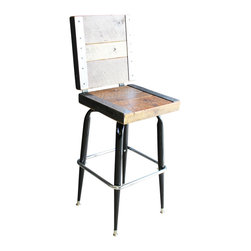 Mt Hood Wood Works - 2 Industrial Stools With Backs Made With Old Reclaimed Barn Wood - Industrial stools made with old reclaimed barn wood. Raw steel angle iron trim with matching black and chrome base. Swivel Top and very sturdy.