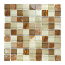 "Glass Tile Oasis - Brown Glass Stone Blend 1"" x 1"" Brown Crystile Blends Glossy Glass and Stone - Our Crystile Series offers a wide range of hues to suit your mood and your style! The vibrancy and depth of our crisp, smooth glass results in a unique and dramatic effect for use in both residential and commercial installations."