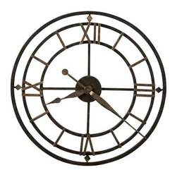 "HOWARD MILLER - York Station 21"" Wrought Iron Wall Clock - This antique style wrought iron wall clock is finished in aged iron with antique gold finished outer ring."