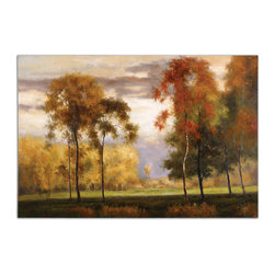 Uttermost - Majestic Friends Hand-Painted Art - Experience the peaceful beauty of a field in autumn every day of the year when you hang this lovely landscape on your wall. This hand-painted canvas work by Grace Feyock will bring vibrant calm to your decor.