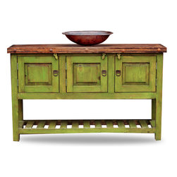 FoxDen Decor - Green Bathroom Vanity, 36x20x32 - This farmhouse bathroom vanity is a gorgeous vanity that comes in a variety of colors! The vanity pictured is 48x20x32  The wooden top has been coated with polyurethane to protect the wood from water damage. There is plenty of cabinet space underneath, and the bottom is a perfect place for decorative towels, baskets or anything else! Each item is custom made from scratch!