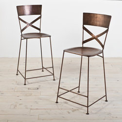 """CG Sparks - Jabalpur Counter Stool (Set of 2) - Features: -Jabalpur Collection. -Material: Iron. -Includes foot pads to protect floors. -Cross back design. -Stackable. Dimensions: -Seat height: 26"""". -Overall: 42"""" H x 18"""" W x 20"""" D, 45 lbs."""