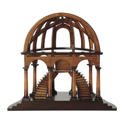 "Ballard Designs - Demi-Dome Architectural Model - Replica inspired by the recently discovered and restored architectural models currently on display in the Vatican. This example of a ""cut-away"" dome allows close inspection of the interior design. Features beautifully distressed French finishes and intricate details. Made of cherry and birch wood."
