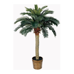 Nearly Natural - 4' Sago Silk Palm Tree - Standing a perky 4 feet tall this palm-like tree is a fabulous tropical accent for your home or office. Sizeable enough to liven up any space yet compact enough to fit any size room. Not a detail was missed, from its dark olive green leaves down to the sturdy spiny trunk. This tree is so natural, you may be tempted to water it.
