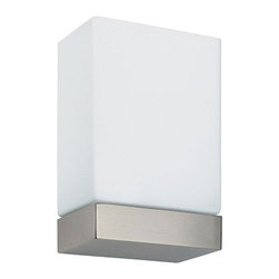 """Tin Square Wall Sconce - By Marcello Ziliani for FLOS. Dimensions: 9.7""""H x 5.8""""W x 3.4""""D. Available in white/silver base, white/chrome plated, white/nickel plated. Made of aluminum, metal, and glass."""