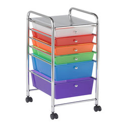Ecr4kids - Ecr4Kids 6 Drawer Mobile Organizer Assorted - This practical organizer can hold just about everything from art and crafts projects to office supplies or even hand tools With its 14 drawers, its perfect for the home or office. Polypropylene drawers easily slide in and out on the chrome plated steel frame rails. This double-wide, multi-purpose organizer glides effortlessly under most tables or desks on 6-swivel casters (2-locking).