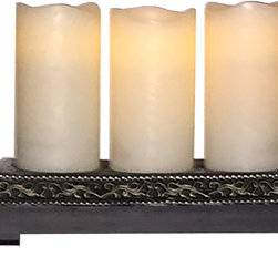 "Avion Innovative Products - Rechargeable Flameless Candle Set of 3 with Decorative Base - Enjoy the amber glow of candles during dinner, relaxing in the family room, master suite outdoor porch. Frequent users of flameless candles will appreciate the convenience and cost savings using this rechargeable candle set. Simply plug in and rest each candle on the recharging base for a few hours for up to 10 hours of candlelight. The candles easily remove from the base and ready when the moment is right for candlelight. Hand crafted and made of weather resistant resin and plastic parts suitable for covered outdoor use. Set of 3. Each candle is 3"" x 6""; Charging Base is 4.25"" x 2.5"" x 11.5""; A/C adapter is included."