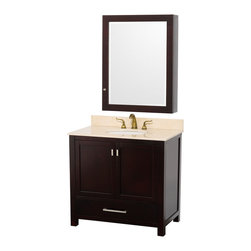 "Wyndham - Abingdon 36"" Bathroom Vanity Set with Medicine Cabinet in Espresso/Ivory - Distinctive styling and elegant lines come together to form a complete range of modern classics in the Abingdon Bathroom Vanity collection. Inspired by well established American standards and crafted without compromise, these vanities are designed to complement any decor, from traditional to minimalist modern. Ivory Marble Sink Counter; Integral white undermount porcelain Sink; Constructed of environmentally friendly, zero emissions solid Oak hardwood, engineered to prevent warping and last a lifetime; 12-stage wood preparation, sanding, painting and finishing process; Highly water-resistant low V.O.C. sealed finish; Unique and striking contemporary design; Minimal assembly required; Deep Doweled Drawers; Practical Floor-Standing Design; Fully-extending under-mount soft-close drawer slides; Concealed soft-close door hinges; 8"" widespread 3-hole faucet mount; Brushed Chrome exterior hardware finish; Plenty of storage space; Plenty of counter space; Includes drain assemblies and P-traps for easy assembly; Includes matching mirror; Faucets not included; 2 doors, 1 drawer; 154 lbs. Dimensions: Vanity - 37""W x 21-1/2""D x 34-7/8""H to counter; Medicine Cabinet - 28-1/2"" x 6-1/2""D x 34-1/2""H"