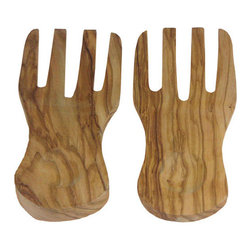 "Berard - Berard Olive Wood Curved Server Hands - Set of 2 - Be ""hands"" on with your salad with Berard server hands.  Made from a single piece of olive wood, no two sets are ever the same.  This Berard set measures 7.7 inches long and weighs 11.35 ounces.  It is recommended that olive wood never be put in a dishwasher, hand wash only."