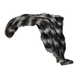 "Lodge Retreat Plaid Black Wolf Faux Fur Throw - A Black Forest Decor Exclusive - Luxurious 2 1/2"" long polyester faux fur fibers in black and grays make the Lodge Retreat Plaid Black Wolf Faux Fur Throw with soft black microfiber suede lining a rustic accent. Dry clean. Measures 54""W x 60""L. ~"