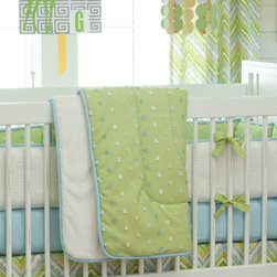 Lime Charades Crib Comforter - Front of comforter features Citrus Pom Poms, backed with Natural Minky Chenille, and edged with Solid Aqua trim.