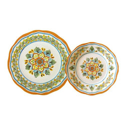 Le Cadeaux - Le Cadeaux San Miguel Crema 16 PC Dinnerware Set, 16 Plate Set - Triple strength melamine - not microwave safe but dishwasher safe.