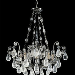 Schonbek - Versailles Antique Pewter Eight-Light Clear Rock Chandelier, 26.5W x 34H x 26.5D - - A reinterpretation of the seventeenth-century chandelier style, the ornate scrollwork and open cage construction are authentic to the period, as is the lavish display of crystal. Drops, rosettes and finial sphere of rock crystal are classic.  -Clear Rock  - Wire Length (in inches): 132  - Light Source: Incandescent Bulb  - Bulbs not included  - Chain Length (in inches): 40  - Uses standard line volt dimmer  - Some assembly required  - For shipping outside of USA, please contact Bellacor customer service  - Cleaning and Care Instructions: Every Schonbek product is of heirloom quality and will last for generations. To ensure it retains its brilliance and splendor for years to come, proper care and regular cleaning are necessary. It is recommended that Schonbek products, and particularly their crystal trim, be lightly dusted with a feather or lambswool duster, or soft brush every two months, or whenever it appears dull or dusty. Consult the fixtures trim diagram for detailed cleaning instructions list of approved cleaning solutions. Schonbeck fixtures should never be subjected to any chemical cleaning agents. - See packaging insert for warranty information. Schonbek  - 2487-47