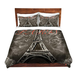 DiaNoche Designs - Duvet Cover Twill - Vintage Lamour a Paris Sepia - Lightweight and soft brushed twill Duvet Cover sizes Twin, Queen, King.  SHAMS NOT INCLUDED.  This duvet is designed to wash upon arrival for maximum softness.   Each duvet starts by looming the fabric and cutting to the size ordered.  The Image is printed and your Duvet Cover is meticulously sewn together with ties in each corner and a concealed zip closure.  All in the USA!!  Poly top with a Cotton Poly underside.  Dye Sublimation printing permanently adheres the ink to the material for long life and durability. Printed top, cream colored bottom, Machine Washable, Product may vary slightly from image.