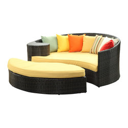 LexMod - Taiji Outdoor Wicker Patio Daybed with Ottoman in Brown with Orange Cushions - Harmonize inverse elements with this radically pleasing daybed set. Seven plush throw pillows adorn Taiji's thick all weather orange cushions allowing for the splendorous blending of mediating elements. Find the key to attainment as you bask in a charged and unified landscape of expansiveness.