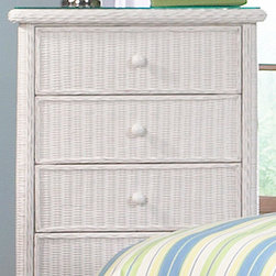 Wicker Paradise - 5 Drawer Wicker Dresser - Elana - This chest of drawers is framed on wood and features draws that glide in and out on an easy glide roller system. Waterfall edges,rounded sides, bun feet, wood draw pulls and a smooth to the touch feel make this chest a most distinctive piece of furniture. Glass top not included, order below.     Check out the nice spacious drawer on the wicker dresser. You have five of these!