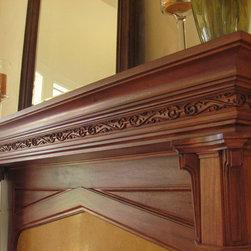 Mantels - Wood fireplace mantel.
