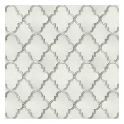 Silver Embroidered Quatrefoil Fabric - Classic quatrefoil trellis embroidered in gold on dark beige linen-like ground. Every room can use a little glitz and glamour!Recover your chair. Upholster a wall. Create a framed piece of art. Sew your own home accent. Whatever your decorating project, Loom's gorgeous, designer fabrics by the yard are up to the challenge!