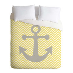 DENY Designs - DENY Designs Lara Kulpa Yellow Anchor Duvet Cover - Lightweight - Turn your basic, boring down comforter into the super stylish focal point of your bedroom. Our Lightweight Duvet is made from an ultra soft, lightweight woven polyester, ivory-colored top with a 100% polyester, ivory-colored bottom. They include a hidden zipper with interior corner ties to secure your comforter. It is comfy, fade-resistant, machine washable and custom printed for each and every customer. If you're looking for a heavier duvet option, be sure to check out our Luxe Duvets!