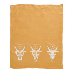Cricket Radio - Alexandria Hathor Hand Towel, Mustard/White - No bull. This towel will give your ho-hum kitchen or guest bath a decorating hand. It features depictions of Hathor, an Egyptian cow and sun deity that embodies joy, feminine love and motherhood. Know what else will bring you joy? Several color choices and Italian linen that gets softer and more absorbent over time.