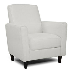 None - Enzo Glacier Accent Chair - Find a new favorite place to curl up with a good book with this chic accent chair. The sleek lines,sturdy dark legs,and bright white cover add a modern touch to the chair,and it's comfortable enough to relax and unwind in every day.