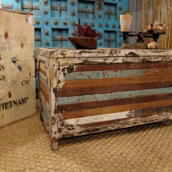 SOLD Industrial Chic Trunk/Table Blue Cream - SOLD***One incredible upcycled wood trunk! We found this upcycled teak and iron trunk in Jodhpur, India. This is a very substantial piece hand constructed from vintage ceiling panels and signs and it will last forever!