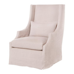 Kathy Kuo Home - Amalia Pale Pink Slip Cover Coastal Style Wing Arm Chair - The high back, sloping arms and minimal skirting of this contemporary style armchair come together to create a formal effect.  But don't let that stop you from choosing this beauty as your comfy, kick back and relax chair.  We believe you can have style and comfort without sacrificing either.  This piece proves it!  (1) x 15 x 24 inch feather cloud lumbar pillow included.  Fabric is not treated with Scotchguard™.  For customers with children or pets, it is recommended.