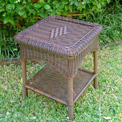 International Caravan - 17 in. Patio Side Table (Antique Moss) - Finish: Antique MossUV light and water resistant. Strong durable steel frame. Made from wicker resin. No assembly required. 17 in. W x 17 in. D x 22 in. H (11 lbs.)