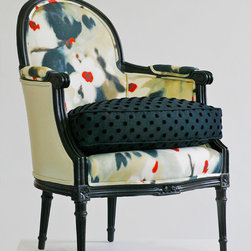 Chairs - Bergamo Chair is a vintage chair that has been completely reupholstered using old world techniques such as 8 way -hand-tied coil springs, horsehair, and cotton. Photo by Wild Chairy