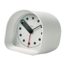 "Alessi - Alessi ""Optic"" Clock - Sound the alarm! In the digital age of smart phones, this stylish little alarm clock is bringing seconds back. It's made of high-grade plastic in your choice of black or white with a fat hour, a slim minute and a red hot second hand."