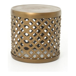 "Four Hands - Marlow 18"" Drum Stool, Matte Brass - Add extra seating that's truly extraordinary to your eclectic home. This cool stool is made of cross-hatched metal and studded for exciting standout style."