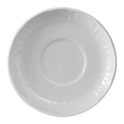 Tuxton - Chicago 6 3/8 inch Soup Mug Saucer Embossed in Porcelain White - Case of 36 - Chicago's traditional embossed design has the flexibility to be used for both casual and fine dining, appealing to the finest of tastes.