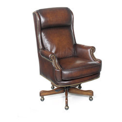 Hooker Furniture - Leather Office Desk Chair EC293 by Hooker Furniture - Executive Swivel Office Chair by Hooker Furniture and Hooker Office Chairs. These chairs are a great scale and can be used in a home office where you need a chair that is not bulky in size and will fit most any home office desk.