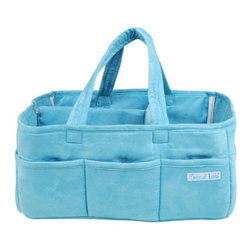 """Trend Lab - Trend Lab Storage Caddy - Turquoise - 102320 - Shop for Diaper Stackers from Hayneedle.com! Tired of fetching baby care items from the nursery? Keep them close at hand in the Trend Lab Storage Caddy - Turquoise. Made of soft 100% polyester ultrasuede this lightly padded fabric bag will help you stay organized while moving from room to room or location to location. Eight exterior pockets hold a wide variety of small items like lotions baby toys craft supplies doggie treats or even silverware for a picnic in the park. Adding even more versatility a removable """"T"""" divider separates the caddy interior into three sections perfect for wipes diapers and other necessities. Thanks to the bag's cool design and modern turquoise color you can be confident toting it all over town.About Trend LabBegun in 2001 in Minnesota Trend Lab is a privately held company proudly owned by women. Rapid growth in the past five years has put Trend Lab products on the shelves of major retailers and the company continues to develop thoroughly tested high-quality baby and children's bedding decor and other items. With mature professionals at the helm of this business Trend Lab continues to inspire and provide its customers with stylish products for little ones. From bedding to cribs and everything in between Trend Lab is the right choice for your children."""