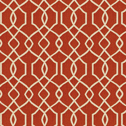 """Ballard Designs - Trellis Rust Sunbrella Fabric by the Yard - Content: 100% Sunbrella® Acrylic. Repeat: Railroaded fabric, 4.14"""" Repeat. Care: Spot clean with mild soap. Width: 54"""" wide. Sand and rust trellis woven in washable, easy-care Sunbrella acrylic.Content: 100% Sunbrella Acrylic. . . . Because fabrics are available in whole-yard increments only, please round your yardage up to the next whole number if your project calls for fractions of a yard. To order fabric for Ballard Customer's-Own-Material (COM) items, please refer to the order instructions provided for each product.Ballard offers free fabric swatches: $5.95 Shipping and Processing, ten swatch maximum. Sorry, cut fabric is non-returnable."""