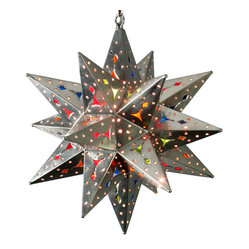 Natural Tin Stained Glass Star Fixture