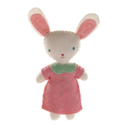 Kata Golda - Stuffed Companion - Bunny, Girl - Kata Golda's Stuffed Companions make adorable playtime and cuddle pals. Hand-stitched with cotton thread and soft, hand-dyed wool felt, their hand-embroidered details make each one unique. Care: Gently spot wash with cold water by hand. Detergents can cause the wool to fade, so use caution and test in an inconspicuous area first.  Do not place items in the dryer; they will shrink.