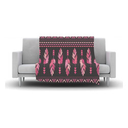 """Kess InHouse - Amanda Lane """"Painted Feathers Gray"""" Pink Dark Fleece Blanket (60"""" x 50"""") - Now you can be warm AND cool, which isn't possible with a snuggie. This completely custom and one-of-a-kind Kess InHouse Fleece Throw Blanket is the perfect accent to your couch! This fleece will add so much flare draped on your sofa or draped on you. Also this fleece actually loves being washed, as it's machine washable with no image fading."""