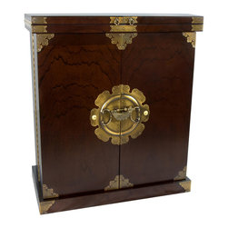Oriental Furniture - Korean Antique Style Liquor Cabinet Wine Bar - Stunning handcrafted dry bar in a beautiful Elm wood finish with etched oriental brass hardware, a portable liquor or wine cabinet for any occasion. Top opens to double the serving surface with hinged leaves; inside slotted hangers for stemware, railed shelves for cocktail glasses, and cross hatch shelves for liquor and wine bottles. Closed its becomes a striking Japanese / Korean tansu style cabinet to provide an elegant Asian accent for any room, home or office.