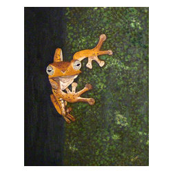 "Vivian Stearns-Kohler/Etoile Creations - Oil Painting - ""Brown tree frog"" - This little brown tree frog seems to only have eyes for you! Framed in a dark brown wood frame. 22 1/2"" height X 18 1/2"" width."