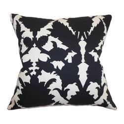 "The Pillow Collection - Fakahina Damask Pillow Ebony - This throw pillow will definitely bring contrast and flair to your home with its timeless damask print pattern. This accent pillow mirrors a contemporary style which is perfect for your interiors. The black and white color combination also suits a modern style design. This eye-catching 18"" pillow is crafted from 100% plush cotton fabric. Mix and match this decor pillow with other patterns and colors for a lively space. Hidden zipper closure for easy cover removal.  Knife edge finish on all four sides.  Reversible pillow with the same fabric on the back side.  Spot cleaning suggested."