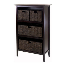 """Winsome Wood - Winsome Wood Toscana 5 Piece Storage Shelf w/ 2 Large & 2 Small Foldable Corn Hu - 5 Piece Storage Shelf w/ 2 Large & 2 Small Foldable Corn Husk Baskets belongs to Toscana Collection by Winsome Wood 5-Pc Storage Shelf comes with Toscana Shelf in Dark Espresso Finish plus 2 Small and 2 Large Foldable Corn Husk Baskets in Chocolate finish. Shelf is made with combination of solid and composite wood and assembly required. Shelf size is 30""""W x 13.80""""D x 48""""H. Two Small Foldable baskets open to 11.02""""W x 10.24""""D x 9.06""""H and 2 Large Baskets is 22.83""""W x 10.24""""D x 9.06""""H. Shelf (1), Basket (4)"""