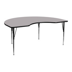 Flash Furniture - Flash Furniture Accent Table X-GG-A-T-YG-YNDIK-6984A-UX - Flash Furniture's XU-A4896-KIDNY-GY-T-A-GG warp resistant thermal fused laminate kidney activity table features a 1.125'' top and a thermal fused laminate work surface. This Kidney Shaped Laminate activity table provides an extremely durable (no mar, no burn, no stain) work surface that is versatile enough for everything from computers to projects or group lessons. Sturdy steel legs adjust from 21.125'' - 30.125'' high and have a brilliant chrome finish. The 1.125'' thick particle board top also incorporates a protective underside backing sheet to prevent moisture absorption and warping. T-mold edge banding provides a durable and attractive edging enhancement that is certain to withstand the rigors of any classroom environment. Glides prevent wobbling and will keep your work surface level. This model is featured in a beautiful Grey finish that will enhance the beauty of any school setting. [XU-A4896-KIDNY-GY-T-A-GG]