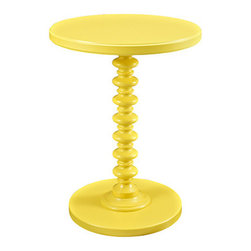 Powell - Powell Yellow Round Spindle Table - The Yellow Round Spindle Table features a bright, smooth finish and a trendy, stack designed base. Its round edges and classic style will add charm to any space. Sized perfectly to sit next to your favorite chair or bedside, the table provides enough space for a lamp or to accommodate household items.  Some assembly required.