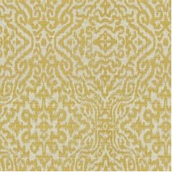 Ahoki / Citrine - Ahoki features and ethnic motif interpreted in raised rayon twills on a refined linen ground. Calico Corners